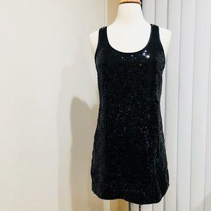 Black sequin open back dress